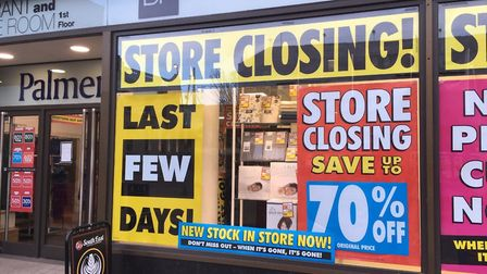 New signs in Palmers shop windows proclaim the 'last few days' of its closing down sale as it prepar