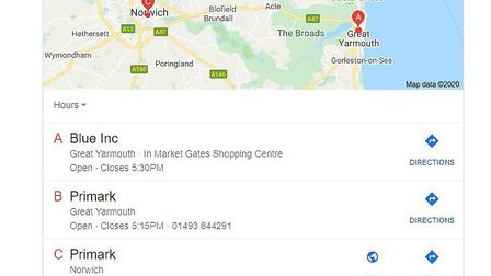 A Google search implying there is a Primark store on Great Yarmouth's Market Place where Palmers now