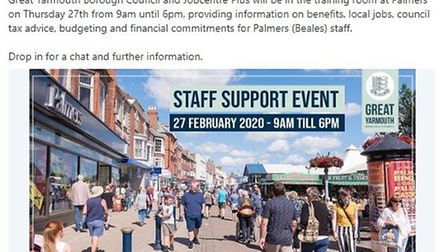 Staff at doomed department store Palmers are being invited to an event aimed at helping them back in
