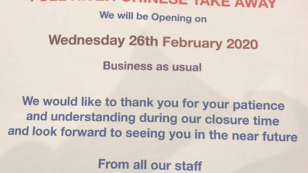 A takeaway's usual holiday shut down was extended by two weeks amid Coronavirus fears. However the F