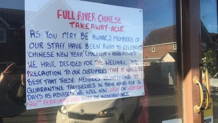 The Full River Chinese takeaway in Acle is closed for two weeks because two staff returning from Hon