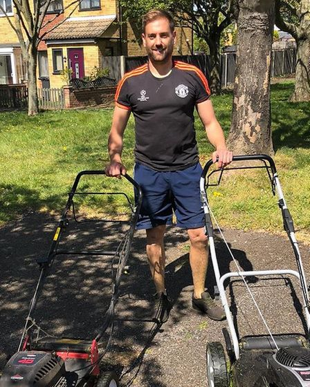 Kris Hodgyns and his team of mowers have won praise for their efforts mowing the whole village of Be