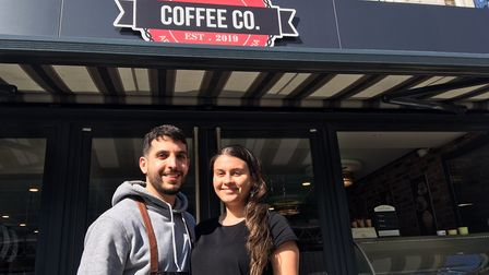 Owners Marios Charalambides, 29 and Margarita George, 25, outside their coffee shop 21 East in Regen