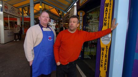 Mick Mann (right) and Bob Hall at Great Yarmouth Market Place. Photo: Bill Darnell