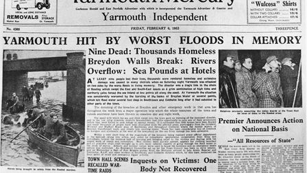 Floods 1953 - YarmouthThe top front half of the Yarmouth Mercury dated Friday February 6 1953 rep
