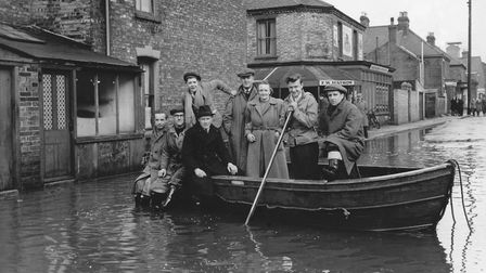 Floods 1953 - CobholmResidents of Cobholm, Great Yarmouth outside F.W. Hayhow Stores during the 19
