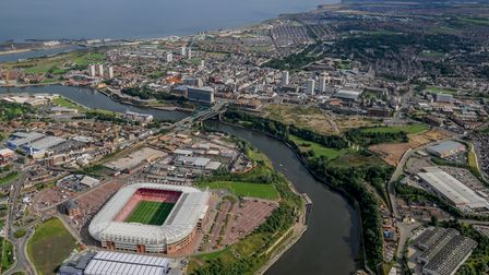 Aerial view of Sunderland and the Stadium of Light on the northern bank of the river Wear
