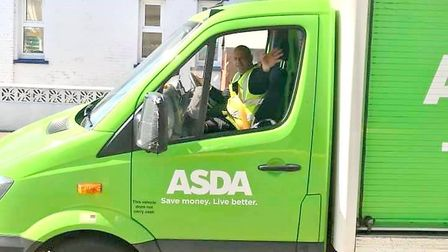 Guest house owner turned Asda delivery driver Gary Smith during the coronavirus pandemic gives a fri