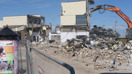 Machinery at work demolishing the Marina Centre at Great Yarmouth. Picture: DENISE BRADLEY