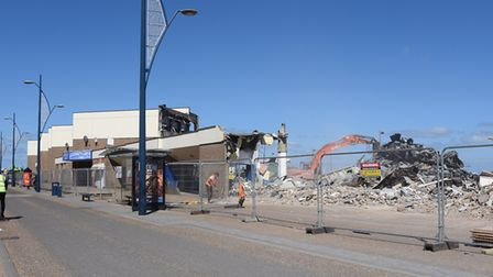 Only the building front is standing as behind most of the Marina Centre at Great Yarmouth has alread