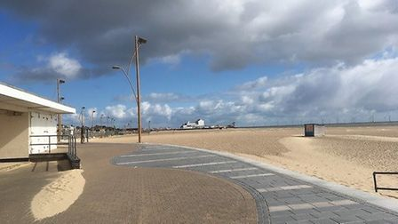 A deserted seafront at Great Yarmouth as a feared influx of visitors were kept away by grey skies.