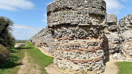 The ruins of the Roman fort at Burgh Castle near Great Yarmouth.April 2016.Picture: James Bass