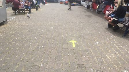 A one-way system is in place at Yarmouth market to assist with social distancing Picture: Liz Coates