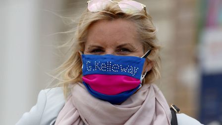 Guess Who trainer Gay Kelleway with her racing colours face mask at Yarmouth Racecourse Picture: PA