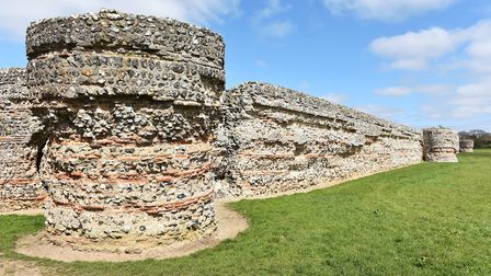 The ruins of the Roman fort at Burgh Castle near Great Yarmouth. Burgh Castle is a popular holiday v