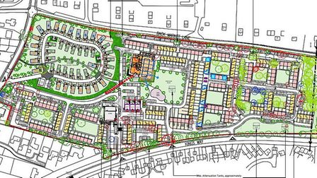 A detailed plan for a new mixed use proposal for the former Pontins site at Hemsby, renamed The Pine