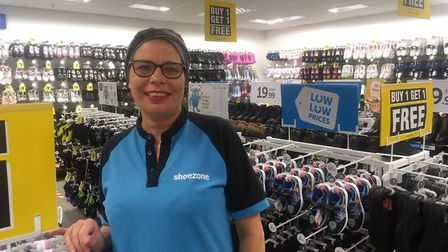 Karina Jarman was delighted to be reopening and to see customers waiting for Shoe Zone to reopen in