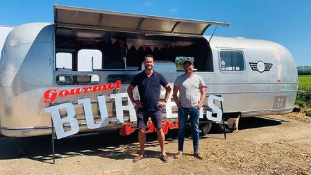 The duo behind the Yankee Traveller in King Street, Great Yarmouth, outside their authentic Airstrea