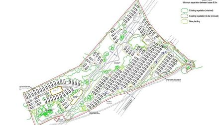 The proposed layout of the 157 caravans being proposed by Tingdene Caravan Parks at Caldecott Hall i