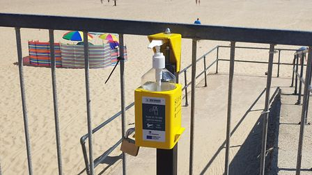 Hand sanitiser stations have been installed along the seafront in Gorleston. PHOTO: Reece Hanson
