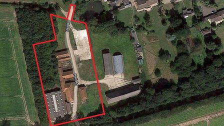 An approximate outline of the site on Hall Road in Hemsby where vacant barns will be converted into