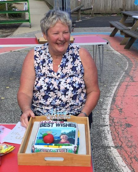 Retiring Southtown Primary headteacher Elaine Glendinning with one of her farewell gifts. Picture: S