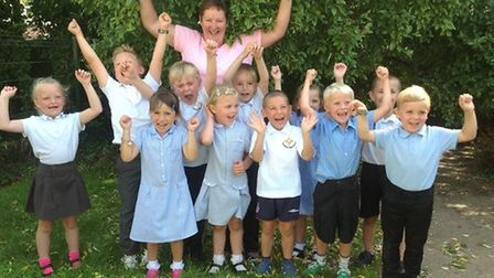 Elaine Glendinning headteacher of Southtown Primary in Great Yarmouth with pupils in 2014. Picture:
