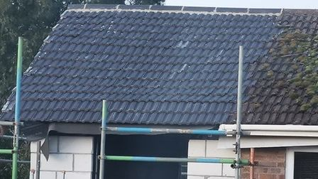 The sagging roof which was undulating back in March. Photo: Vicki Mileham