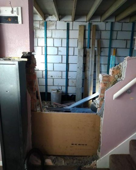 How the extension was left by the builders in March, with open access to the house from the outside.