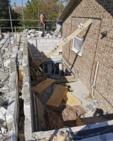 """A picture showing the """"wonky wall"""" condemned by the building inspector. Photo: Vicki Mileham"""