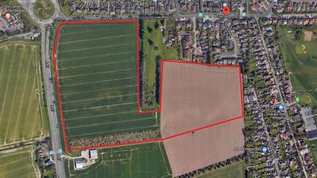 A rough outline of the proposed development site for 240 houses and a LIDL supermarket south of Link