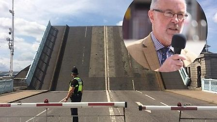 Cllr Martin Wilby (inset) has said the Haven Bridge in Great Yarmouth will not be lifted for the tim