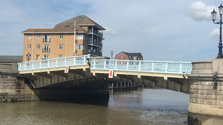 The Haven Bridge in Great Yarmouth when it was stuck last year. Picture: Archant.