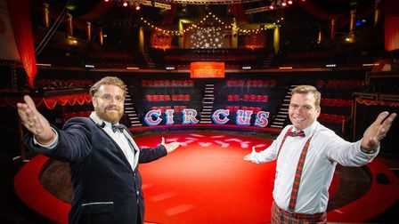 Ringmaster Jack Jay and comedy partner Johnny Mac prepare for showtime at Great Yarmouth's Hippodrom