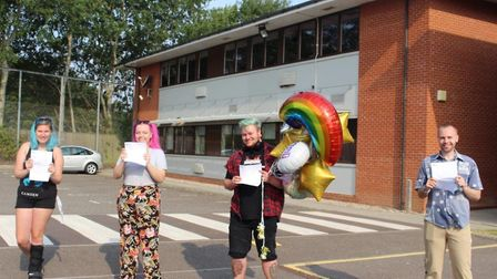 Students at East Norfolk Sixth Form College in Gorleston receiving their A-level results in 2020. Pi