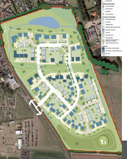 The proposed development by GVD Strategic Land Promotion at Highfield Equestrian Centre, Hemsby. Pho