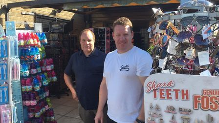 Steven Phillips and Kevin Brown outside Barker's gift shop on Great Yarmouth seafront. Mr Phillips s