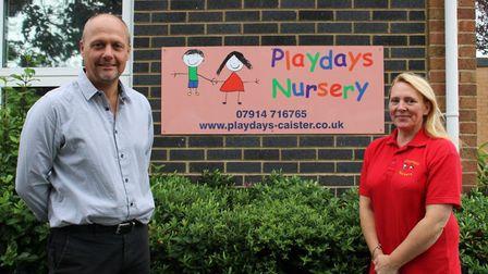 Playdays' owner Angie Ward and Caister Infant School's executive headteacher Jonathan Rice have join