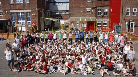 Pupils at St George's Primary and Nursery School celebrate its Ofsted report. Picture: St George's P