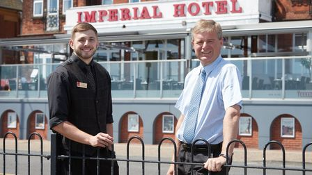 Grant Smith, 28, and Nick Mobbs, 57, outside the Imperial Hotel on North Drive in Great Yarmouth. Pi