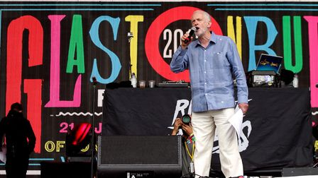 Labour leader Jeremy Corbyn speaks to the crowd from the Pyramid stage