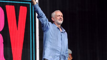 Labour leader Jeremy Corbyn speaks to the crowd from the Pyramid stage at Glastonbury Festival, at W
