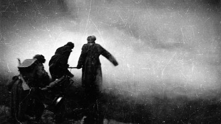 Soldiers of the Red Army take a stand with a gun in the Battle of Stalingrad, Soviet Union. (Berline
