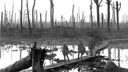 The Third Battle of Ypres 1917, known popularly as Passchendaele. Australian troops over a duckboard