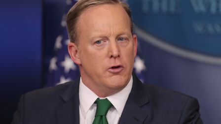Sean Spicer takes question from the media at the west wing in Washington