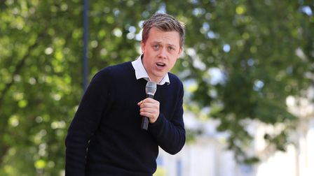 Owen Jones give a speech during the March for Europe rally in Parliament Square, London to show supp