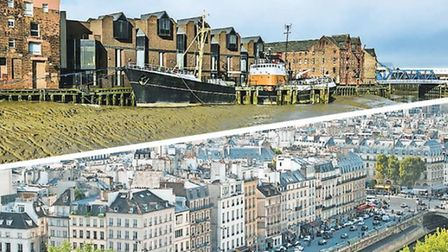 Top, Hull's riverside. Bottom, a view of Paris from Notre-Dame roof