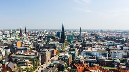 Aerial view of Hamburg city center and harbour