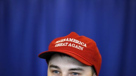 Matt Atkins wears a Make America Great Again hat as he attends the Manning Centre conference on Frid