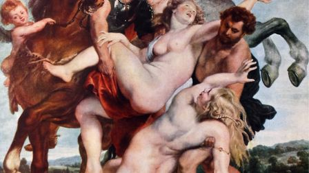 Painting titled 'The Abduction of the Daughters of Leucippus' by Peter Paul Rubens (1577-1640) a Fle